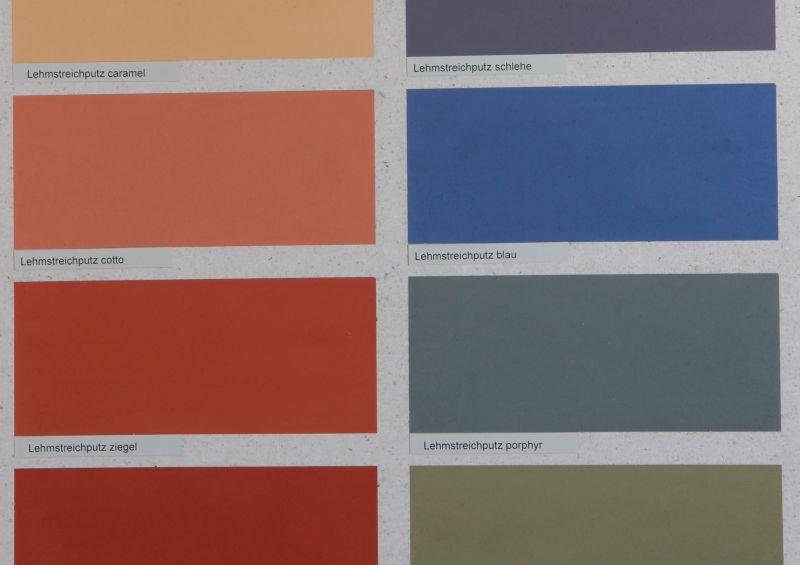 Die Lehmfarben von Kreidezeit gibt es in 12 Farbtönen und in weiß (das selbst pigmentiert werden kann)
